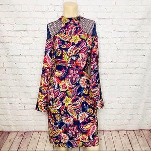 NICOLE MILLER Mock Neck Floral Dress Mesh Shoulder